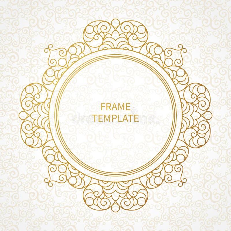 Филигранная линия рамка вектора искусства в восточном стиле иллюстрация штока