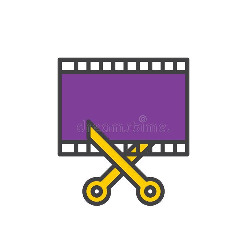 Фильм и ножницы, видео- отделка заполнили значок плана, знак вектора иллюстрация вектора