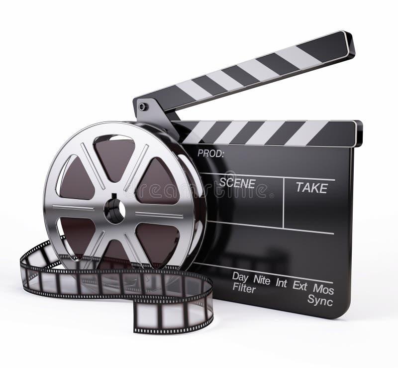 Фильм и нумератор с хлопушкой иллюстрация вектора