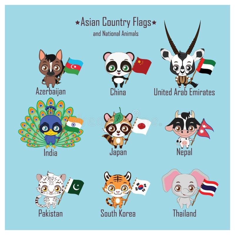 Флаги азиатской страны и национальные животные иллюстрация штока
