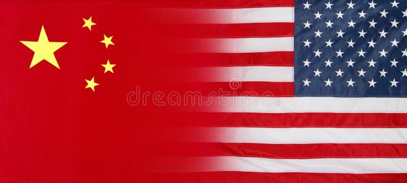 Флаги американца и Китая стоковые фотографии rf