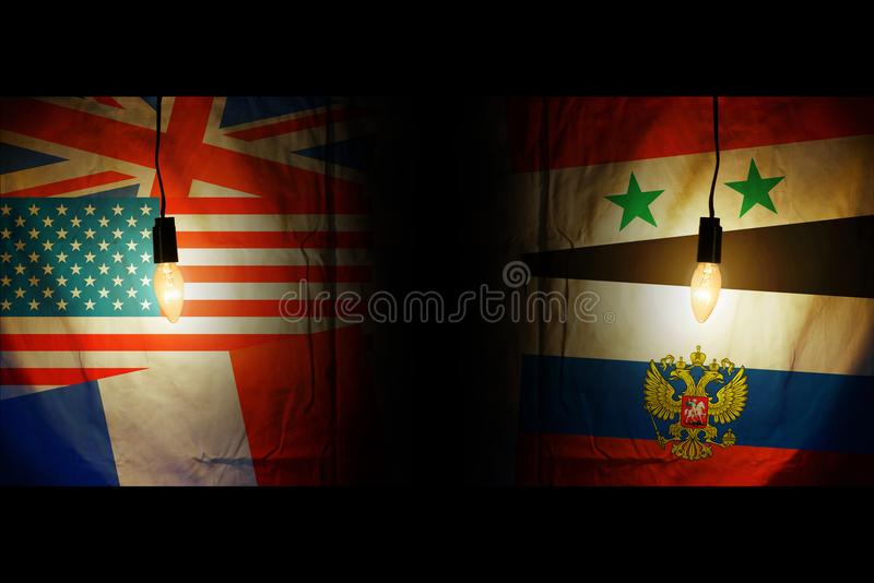 Флаги Америки, Британии, Франции напротив флагов Сирии и России стоковое фото