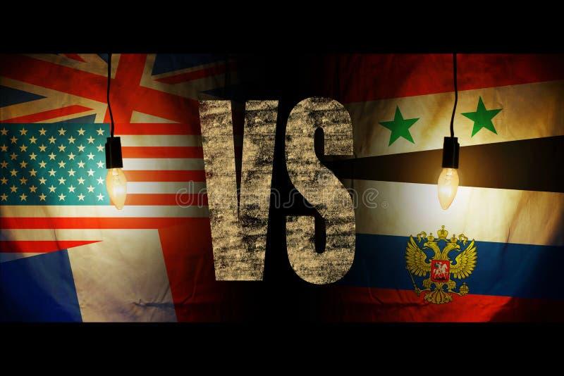 Флаги Америки, Британии, Франции напротив флагов Сирии и России стоковое изображение rf