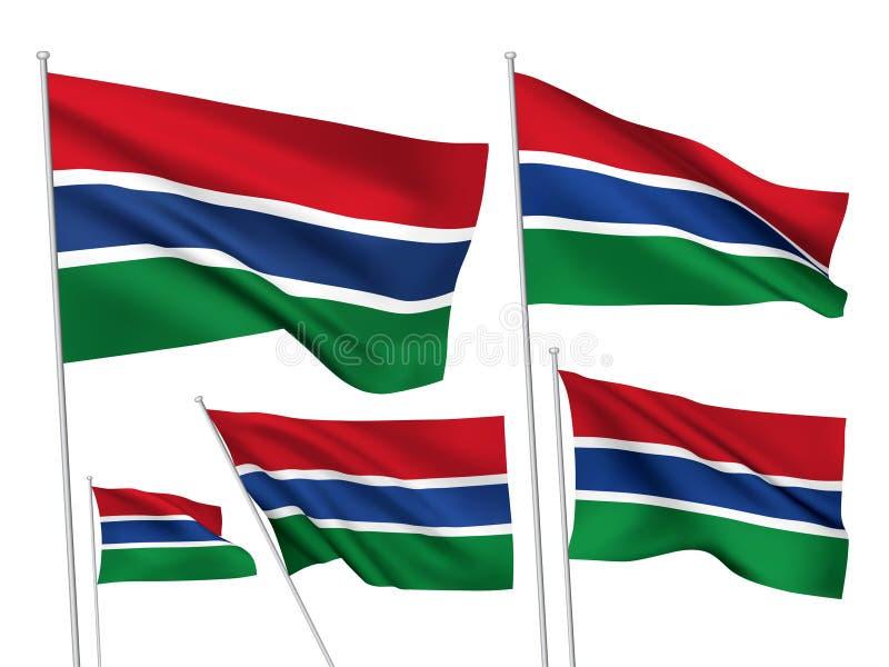 Флаги вектора Гамбии иллюстрация вектора
