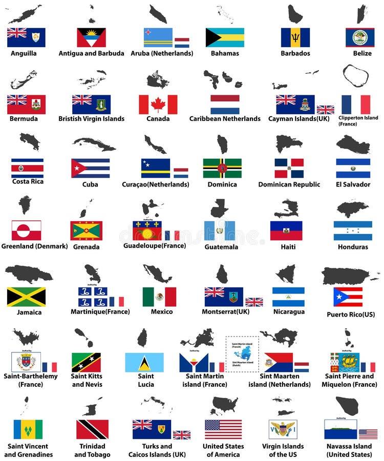Флаги вектора и карты североамериканских стран иллюстрация вектора