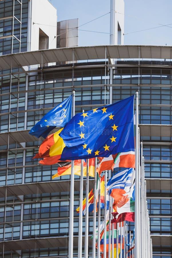 Флаги всех государство-членов парламента Европейского союза стоковое изображение