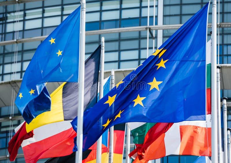 Флаги всех государство-членов парламента Европейского союза стоковое изображение rf