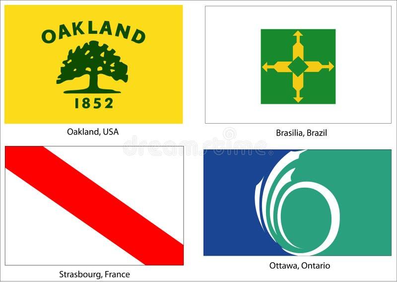 флаги города установили мир бесплатная иллюстрация
