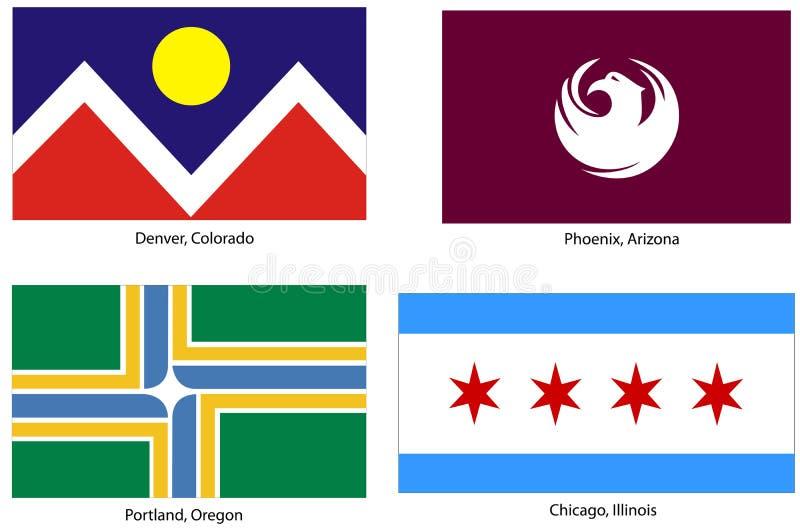 флаги города установили США иллюстрация вектора