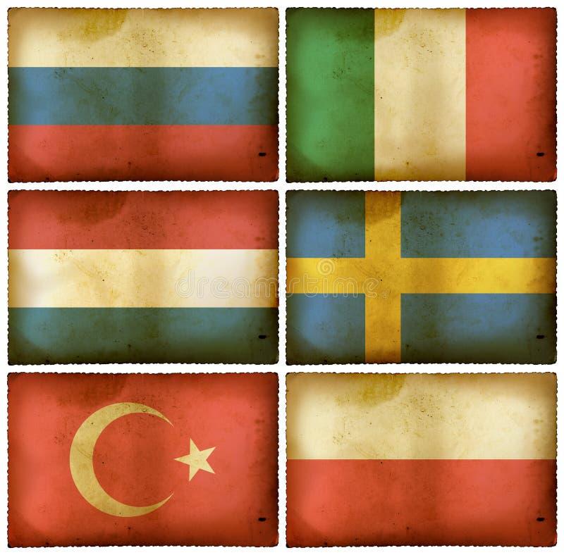 флаги европы установили сбор винограда 2 иллюстрация вектора