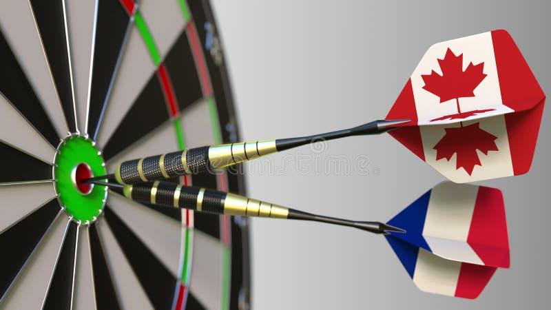 Флаги Канады и Франции на дротиках ударяя яблочко цели Международное сотрудничество или конкуренция схематические стоковая фотография rf