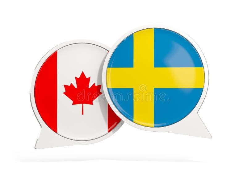 Флаги Канады и Швеции внутри пузырей болтовни бесплатная иллюстрация
