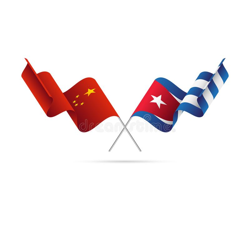 Флаги Китая и Кубы также вектор иллюстрации притяжки corel бесплатная иллюстрация