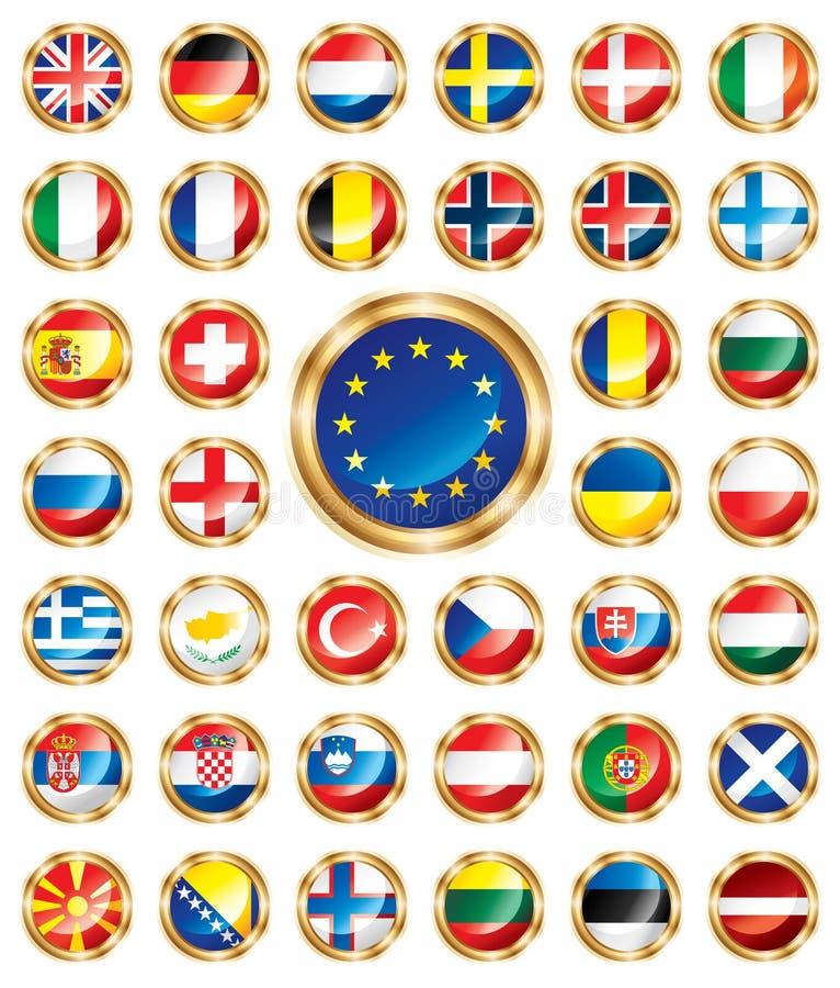 флаги кнопки европейские установили бесплатная иллюстрация