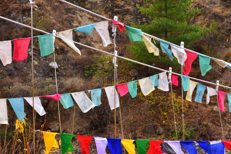 Флаги молитве с мантрами стоковые фотографии rf