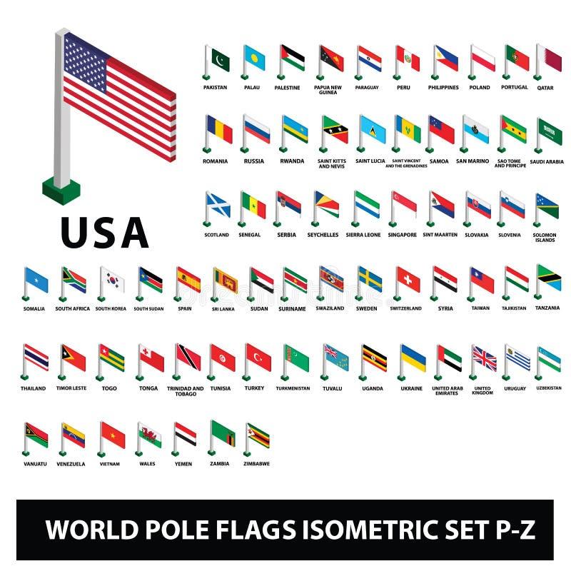 Флаги набора P-Z флагов поляка собрания стран мира равновеликого иллюстрация штока