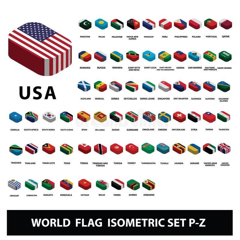 Флаги набора P-Z флагов собрания стран мира равновеликого иллюстрация штока