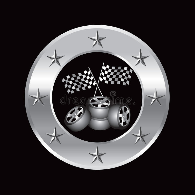 флаги обрамляют участвовать в гонке вокруг серебряных автошин звезды иллюстрация штока
