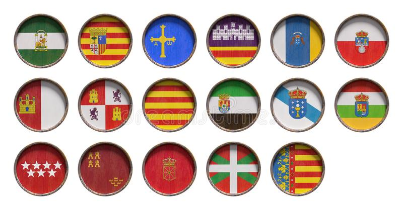 Флаги общины Испании автономные иллюстрация штока
