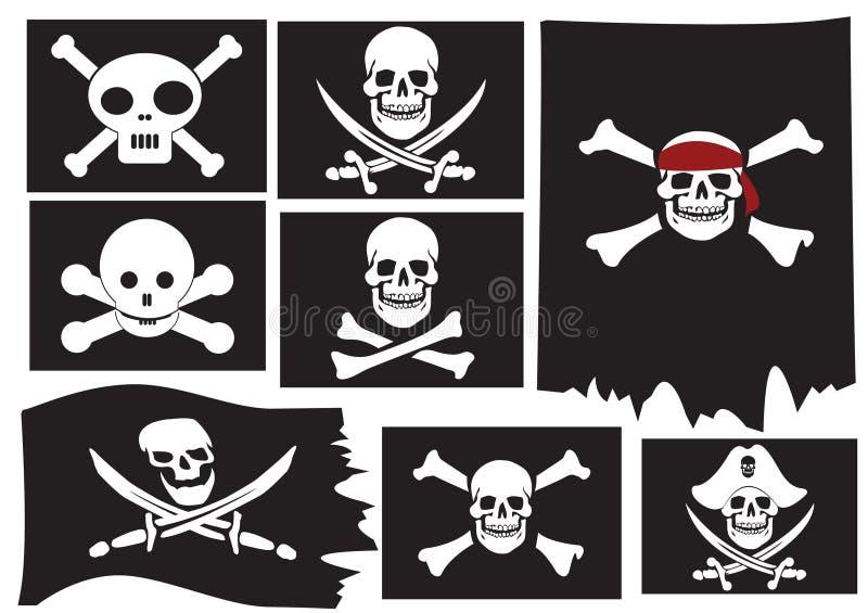 флаги перекрещенных костей пиратствуют череп иллюстрация вектора