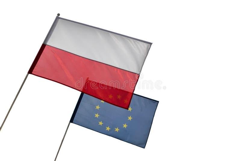 Флаги польских и Европейского союза на белой предпосылке с космосом экземпляра стоковое фото