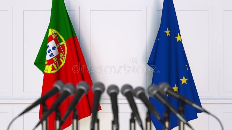 Флаги Португалии и Европейского союза на международных встрече или конференции перевод 3d стоковая фотография