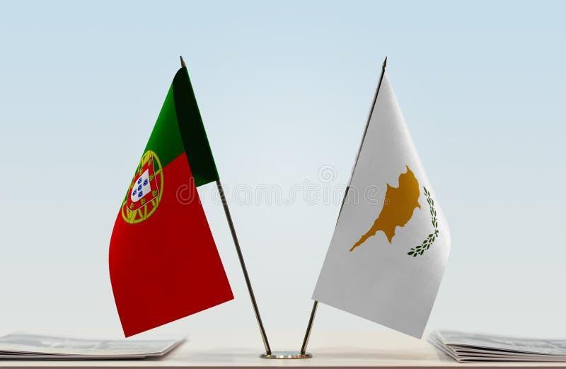 Флаги Португалии и Кипра стоковое фото rf