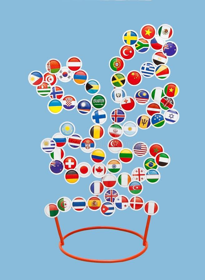 Флаги различных стран мира в форме стикеров на металле кладут на полку в форме дерева иллюстрация штока