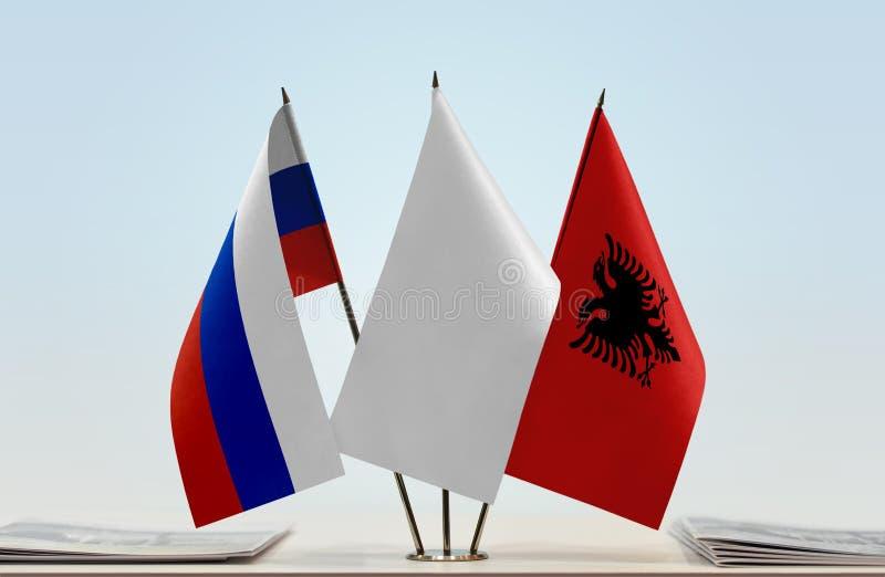 Флаги России и Албании стоковое фото rf