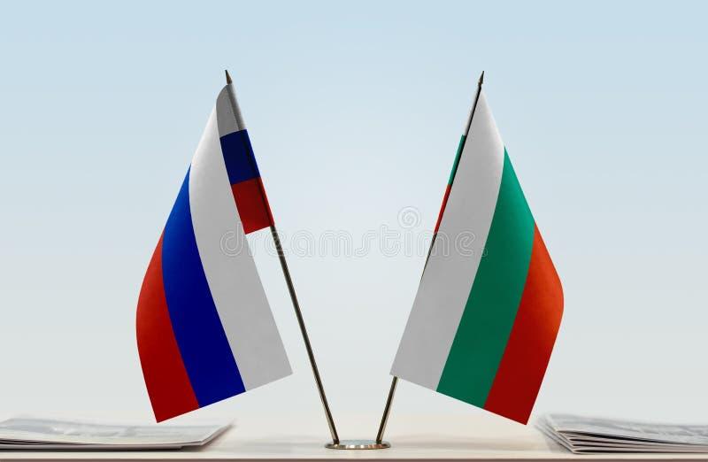 Флаги России и Болгарии стоковая фотография rf