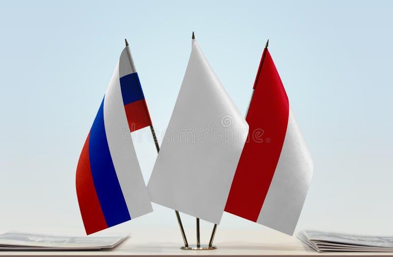 Флаги России и Монако стоковая фотография