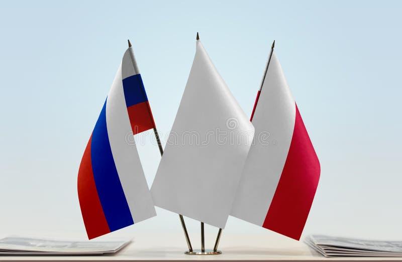 Флаги России и Польши стоковая фотография rf