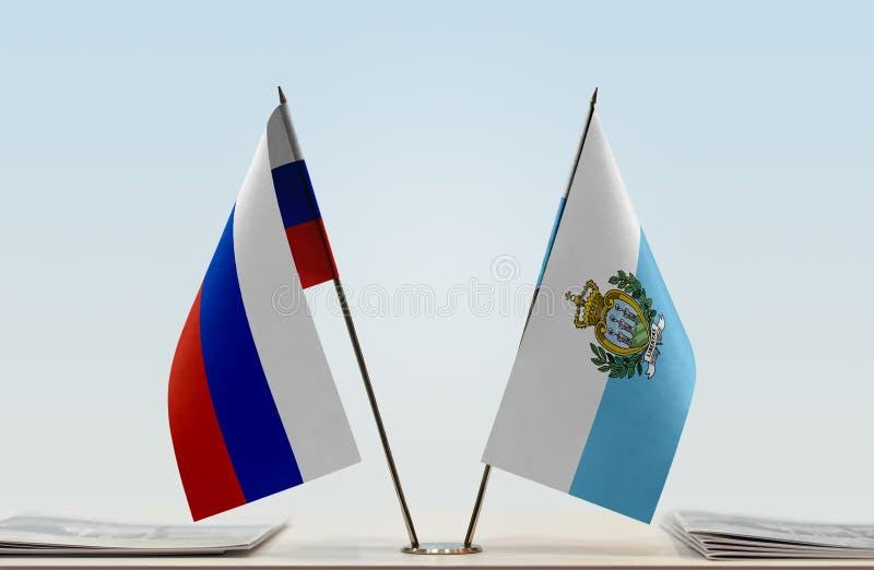 Флаги России и Сан-Марино стоковое фото