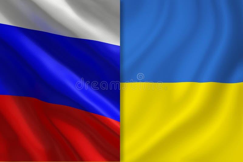 Флаги России и Украины иллюстрация штока