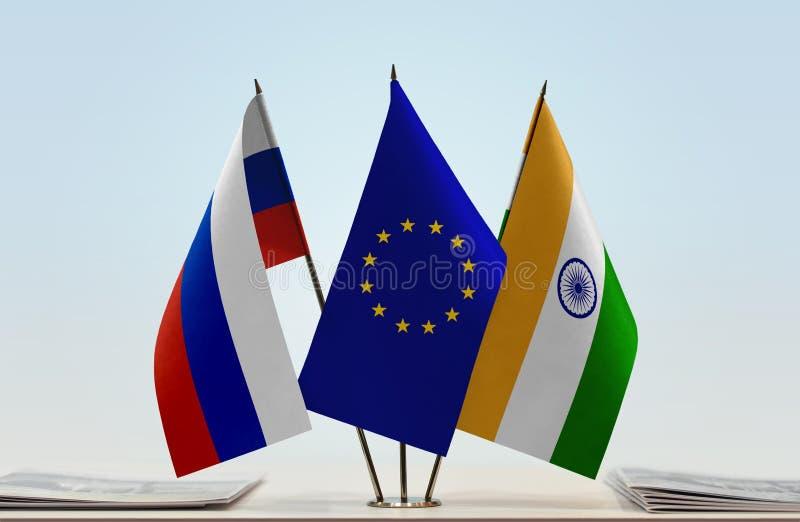 Флаги России EC и Индии стоковые изображения rf