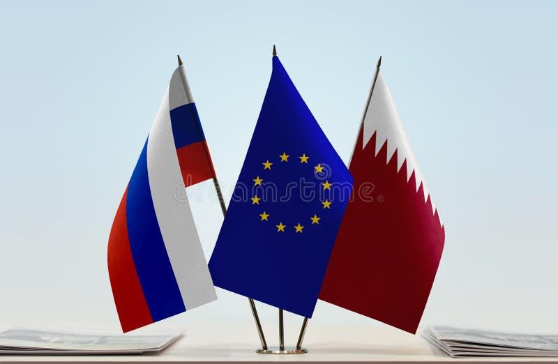 Флаги России EC и Катара стоковые изображения rf