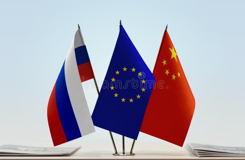 Флаги России EC и Китая стоковые изображения
