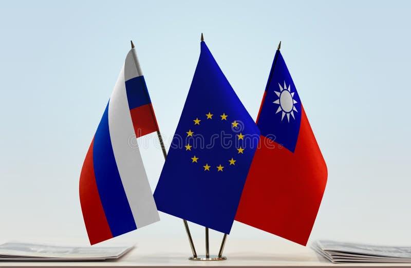 Флаги России EC и Тайваня стоковое изображение rf