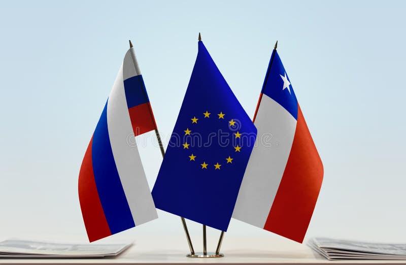 Флаги России EC и Чили стоковые изображения rf