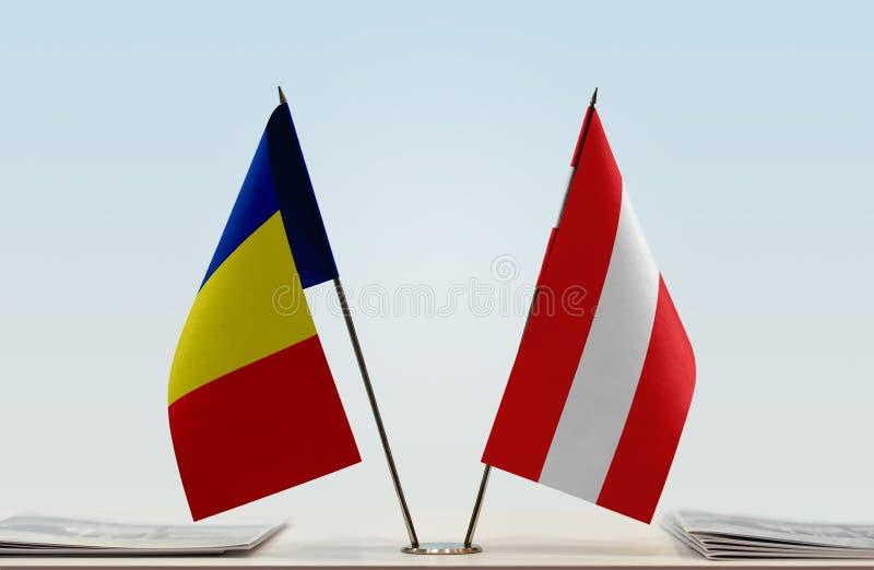 Флаги Румынии и Австрии стоковое фото