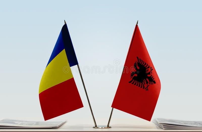 Флаги Румынии и Албании стоковое фото