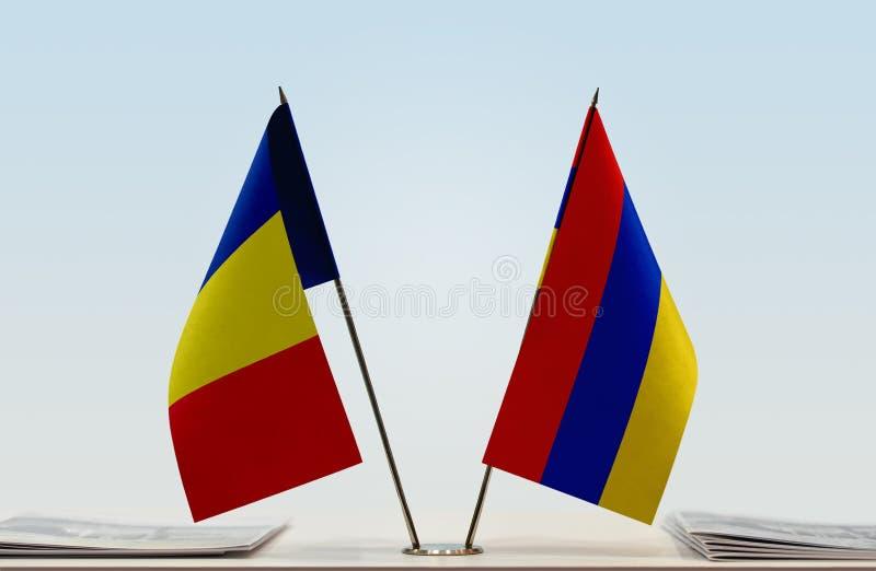 Флаги Румынии и Армении стоковые фотографии rf