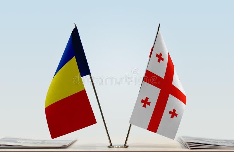 Флаги Румынии и Georgia стоковое фото rf