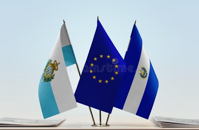 Флаги Сан-Марино EC и Сальвадора стоковое изображение rf
