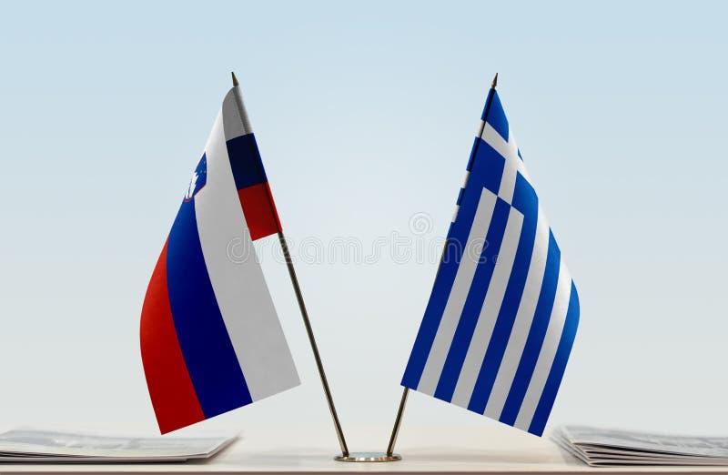 Флаги Словении и Греции стоковая фотография rf