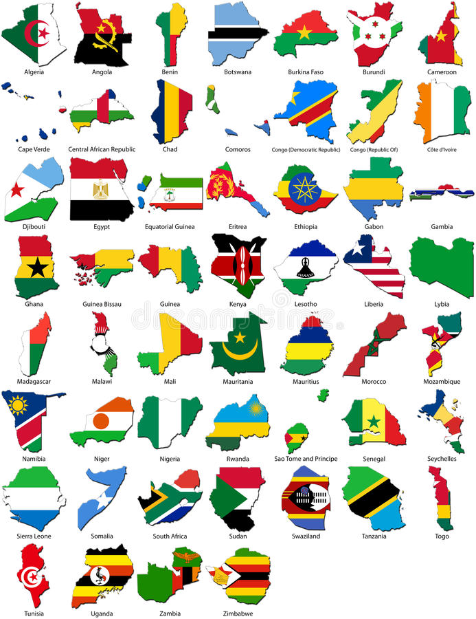флаги страны граници Африки установили мир стоковые изображения
