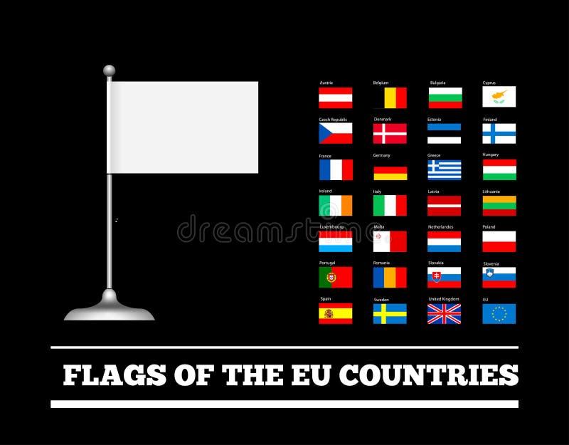 Флаги стран Европейского союза Флаги Eu вектор комплекта сердец шаржа приполюсный бесплатная иллюстрация