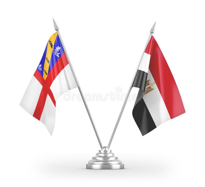 Флаги таблицы 'Египет и Герман', изолированные на белой трехмерной отрисовке бесплатная иллюстрация