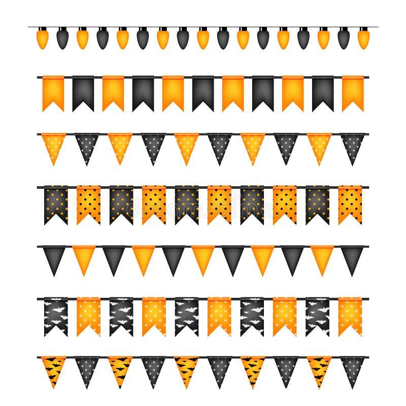 Флаги украшения хеллоуина и гирлянды электрических лампочек изолированные дальше иллюстрация вектора