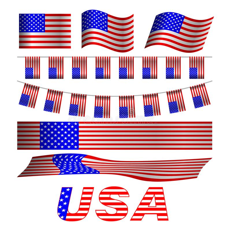 флаги установили США иллюстрация вектора